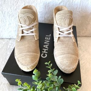 CHANEL Shoes - CHANEL Suede Leather High Top Sneaker Espadrilles